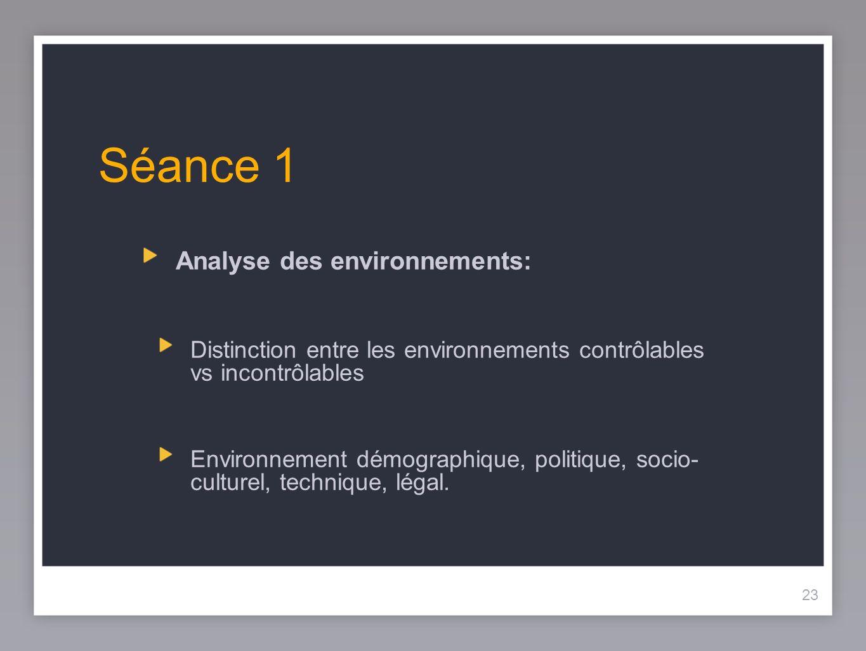 Séance 1 Analyse des environnements: