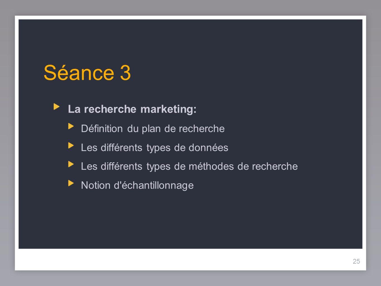 Séance 3 La recherche marketing: Définition du plan de recherche