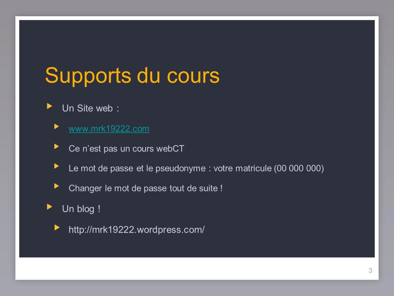 Supports du cours Un Site web : Un blog !