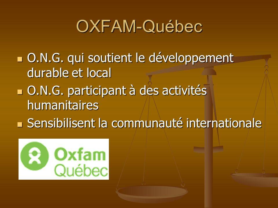 OXFAM-Québec O.N.G. qui soutient le développement durable et local