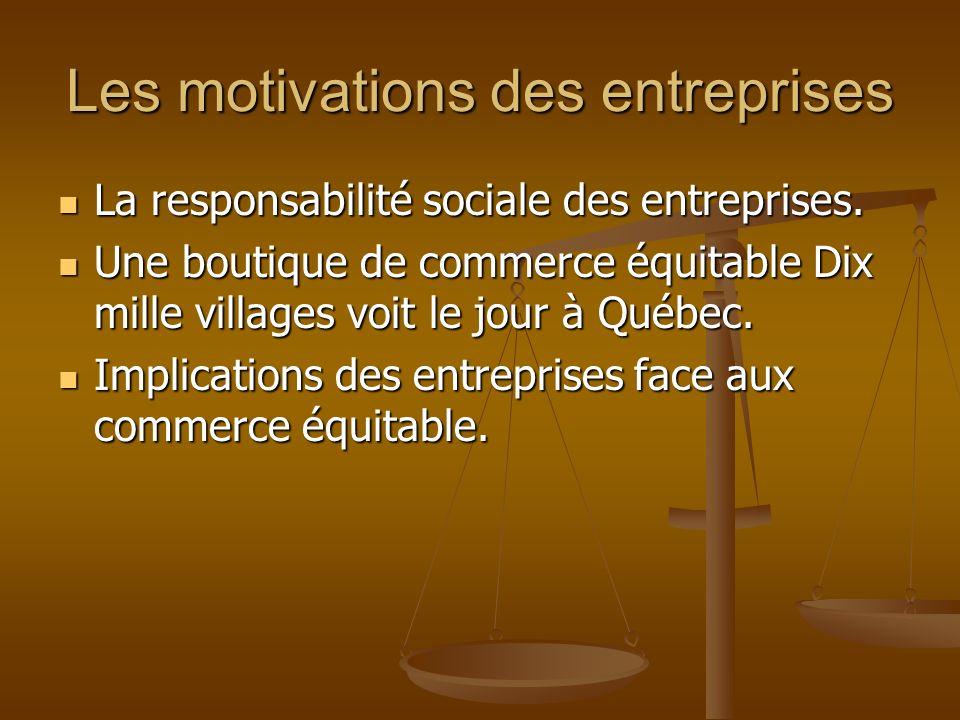 Les motivations des entreprises
