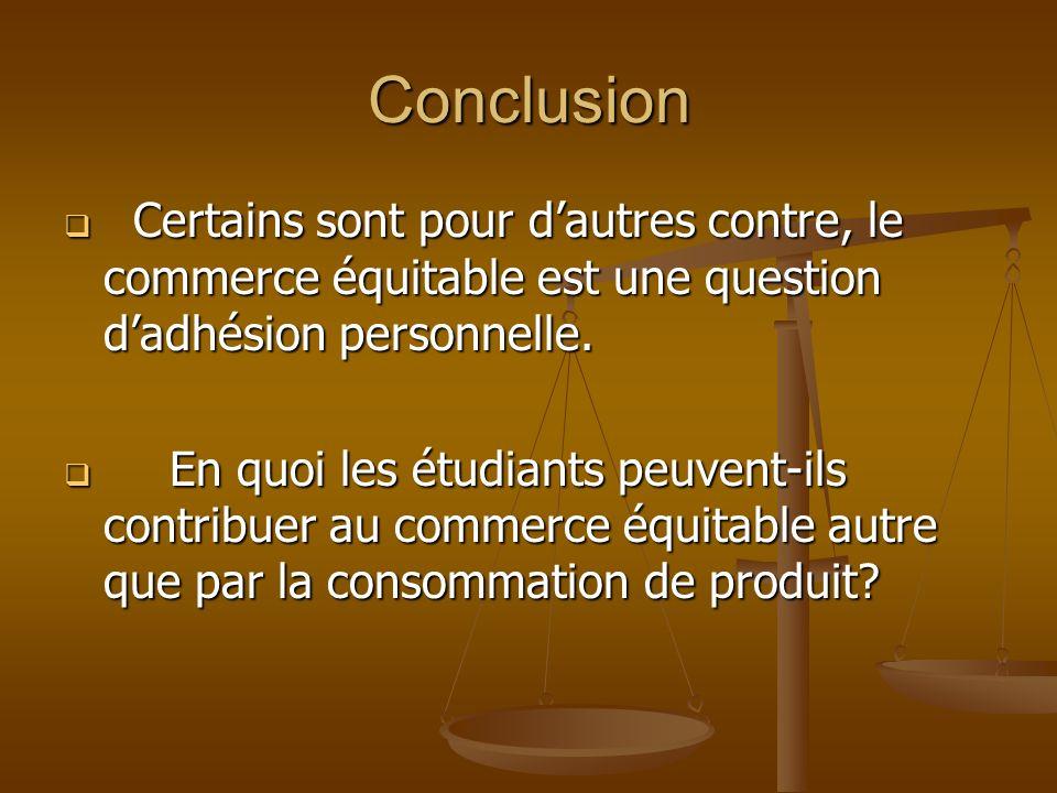 ConclusionCertains sont pour d'autres contre, le commerce équitable est une question d'adhésion personnelle.