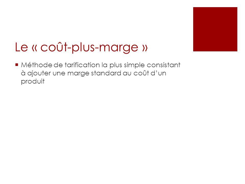 Le « coût-plus-marge » Méthode de tarification la plus simple consistant à ajouter une marge standard au coût d'un produit.