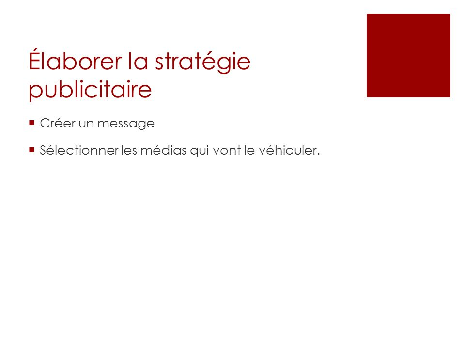 Élaborer la stratégie publicitaire
