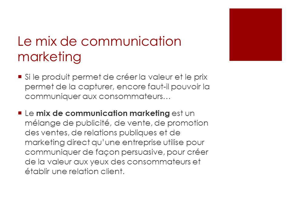 Le mix de communication marketing
