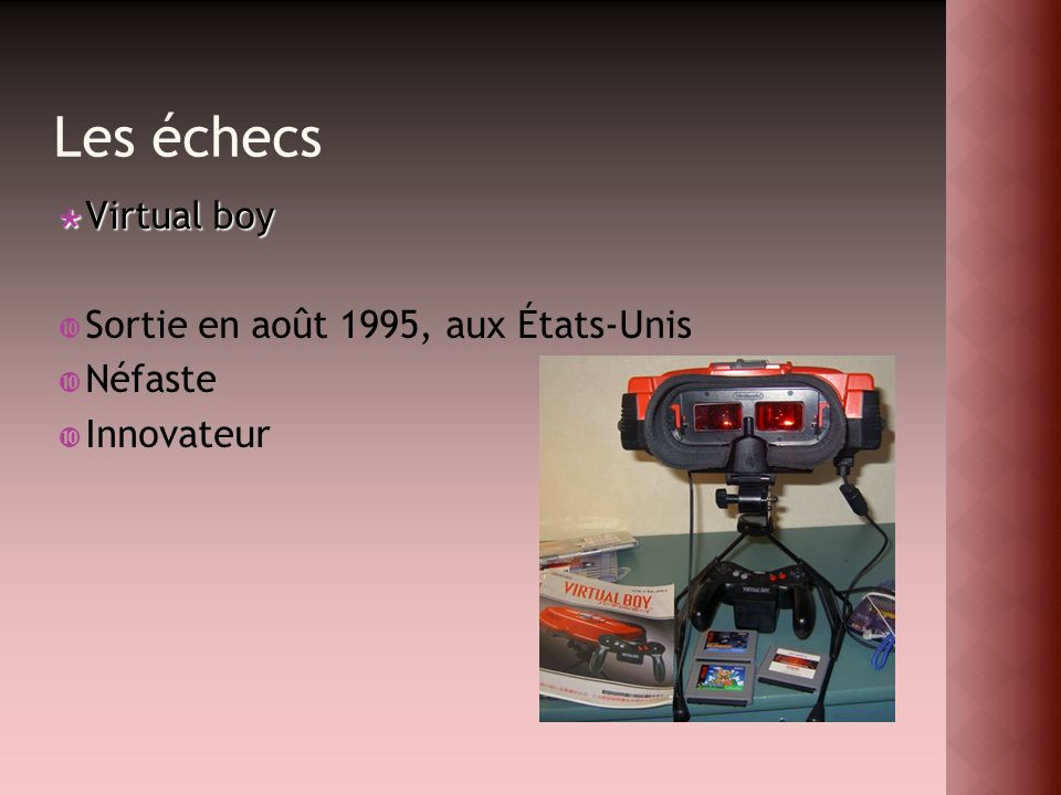 Les échecs Virtual boy Sortie en août 1995, aux États-Unis Néfaste
