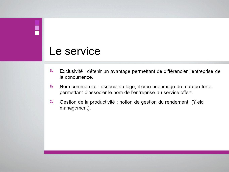 Le serviceExclusivité : détenir un avantage permettant de différencier l'entreprise de la concurrence.