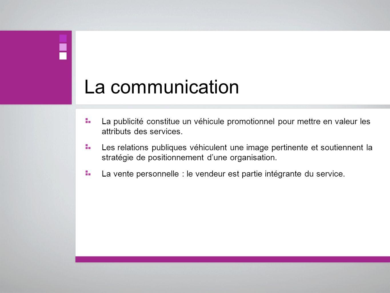 La communicationLa publicité constitue un véhicule promotionnel pour mettre en valeur les attributs des services.