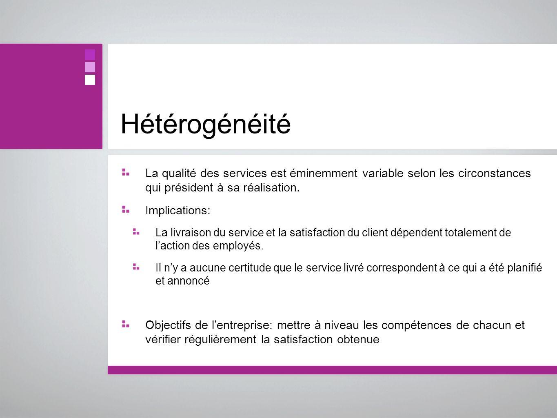 HétérogénéitéLa qualité des services est éminemment variable selon les circonstances qui président à sa réalisation.