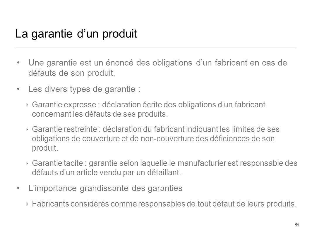 La garantie d'un produit
