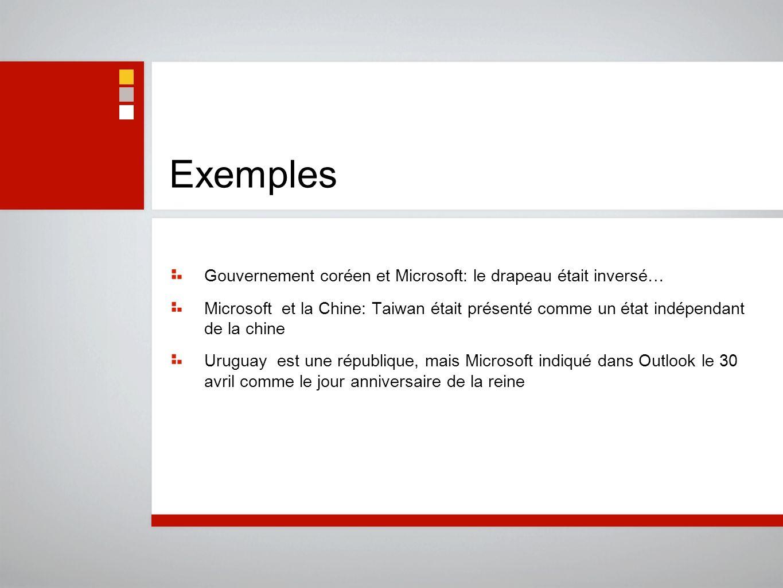 Exemples Gouvernement coréen et Microsoft: le drapeau était inversé…