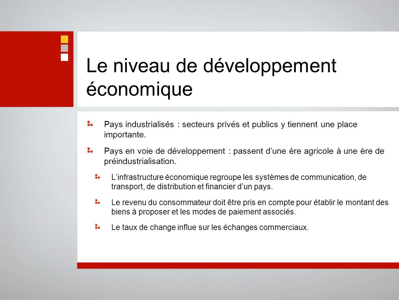 Le niveau de développement économique