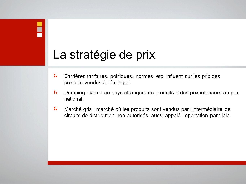 La stratégie de prix Barrières tarifaires, politiques, normes, etc. influent sur les prix des produits vendus à l'étranger.