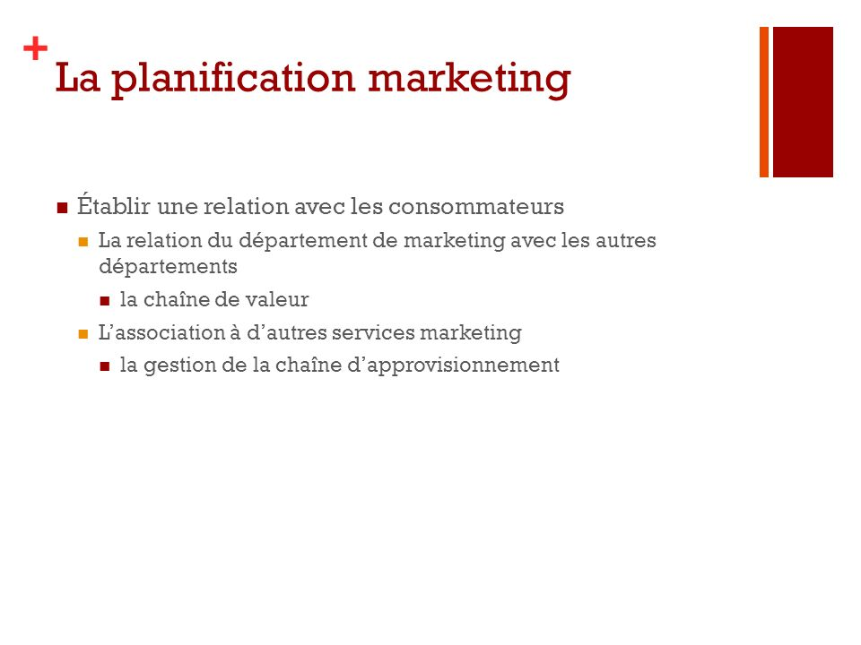 La planification marketing