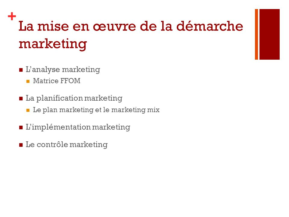 La mise en œuvre de la démarche marketing