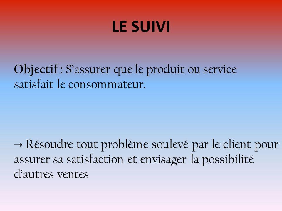 LE SUIVI Objectif : S'assurer que le produit ou service satisfait le consommateur.