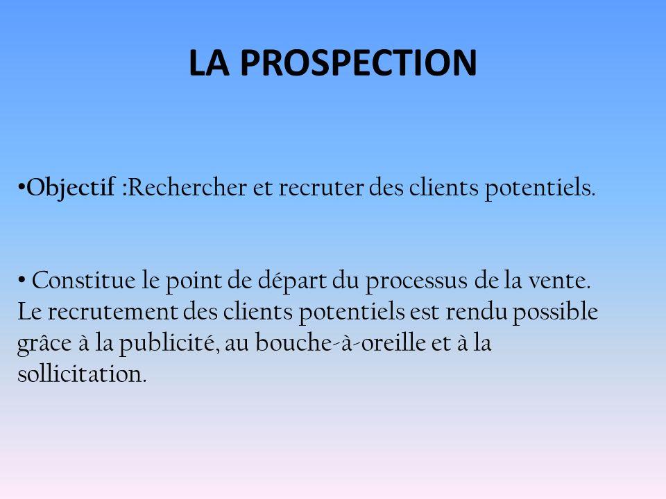 LA PROSPECTION Objectif :Rechercher et recruter des clients potentiels.