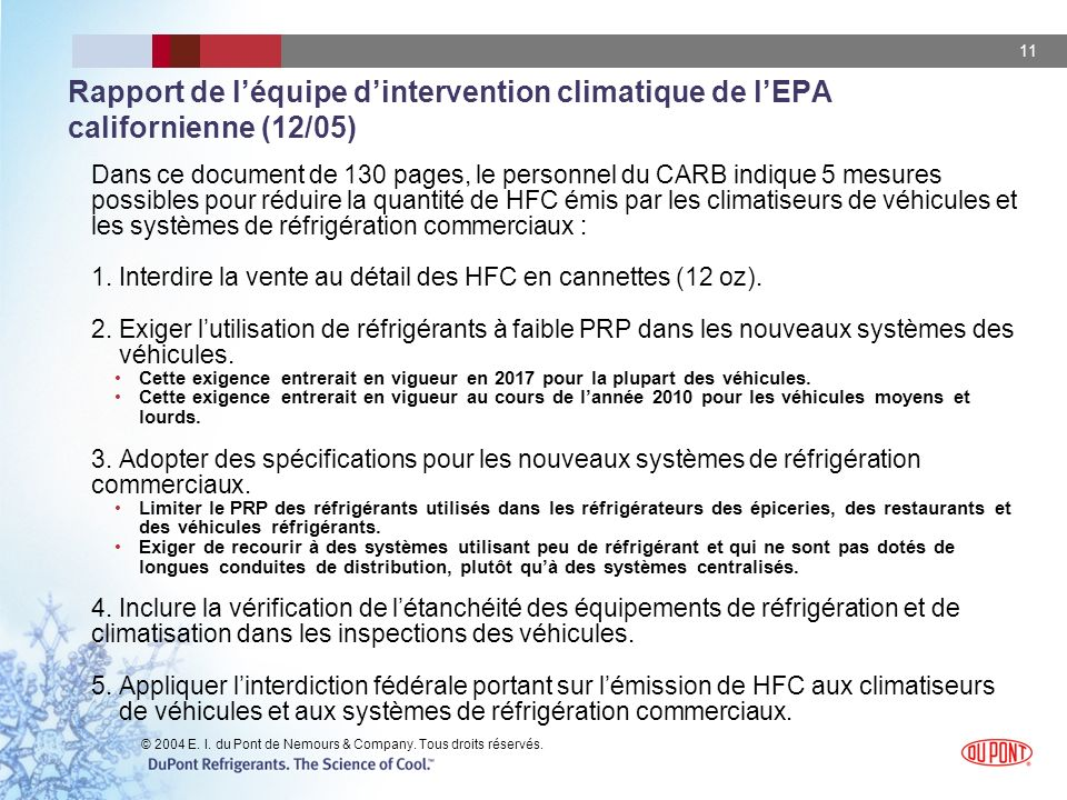 Rapport de l'équipe d'intervention climatique de l'EPA californienne (12/05)