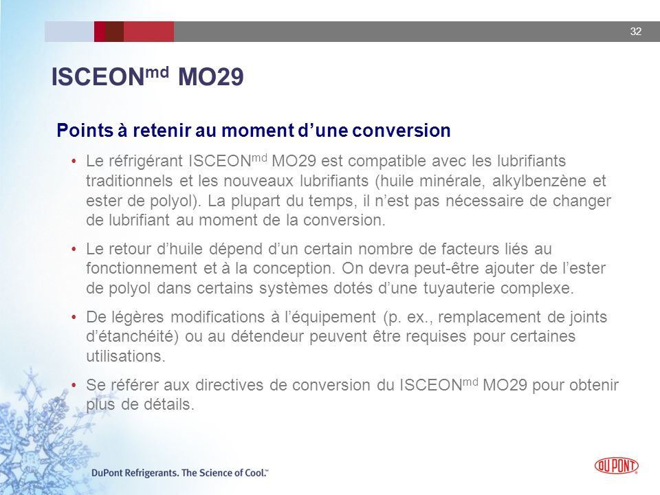 ISCEONmd MO29 Points à retenir au moment d'une conversion