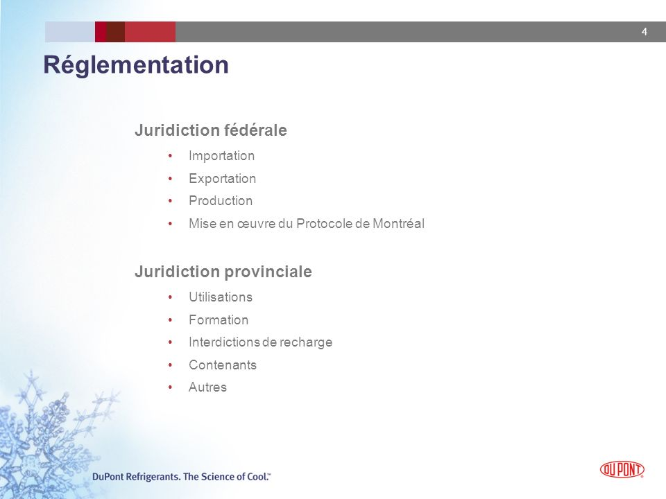 Réglementation Juridiction fédérale Juridiction provinciale