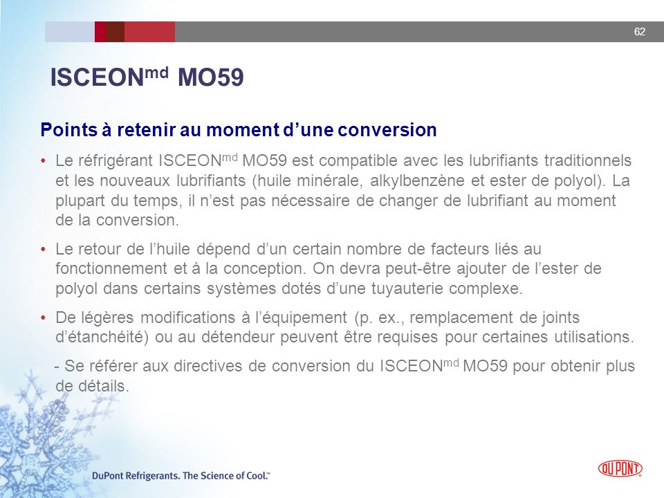 ISCEONmd MO59 Points à retenir au moment d'une conversion
