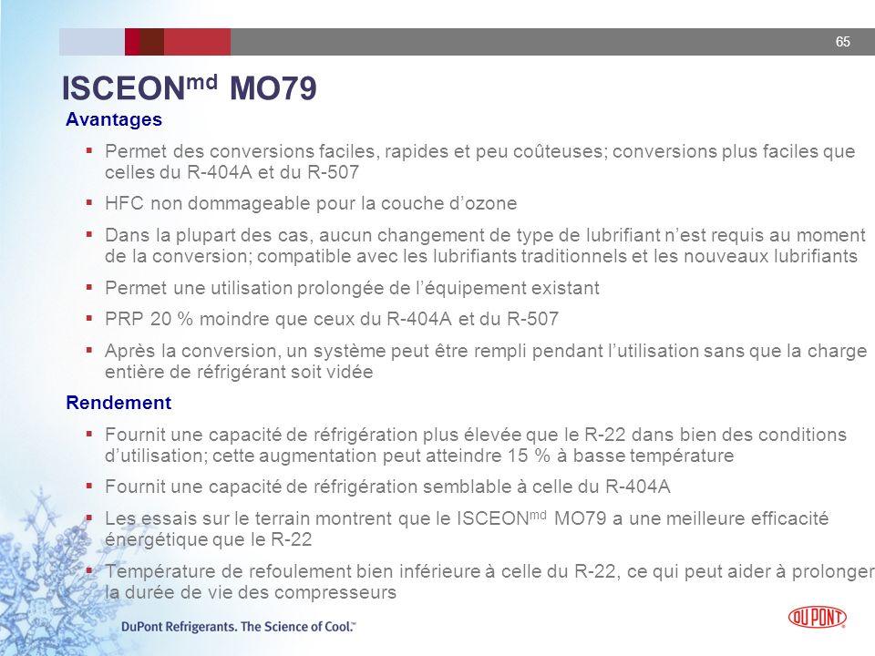 ISCEONmd MO79 Avantages. Permet des conversions faciles, rapides et peu coûteuses; conversions plus faciles que celles du R-404A et du R-507.