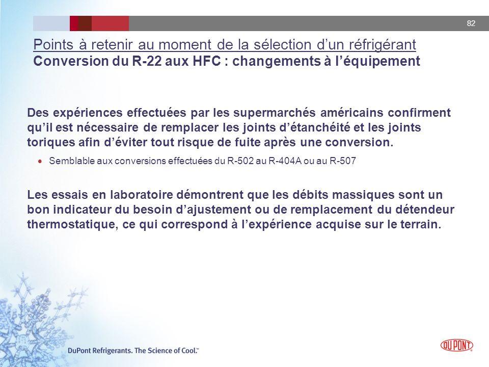 Points à retenir au moment de la sélection d'un réfrigérant Conversion du R-22 aux HFC : changements à l'équipement