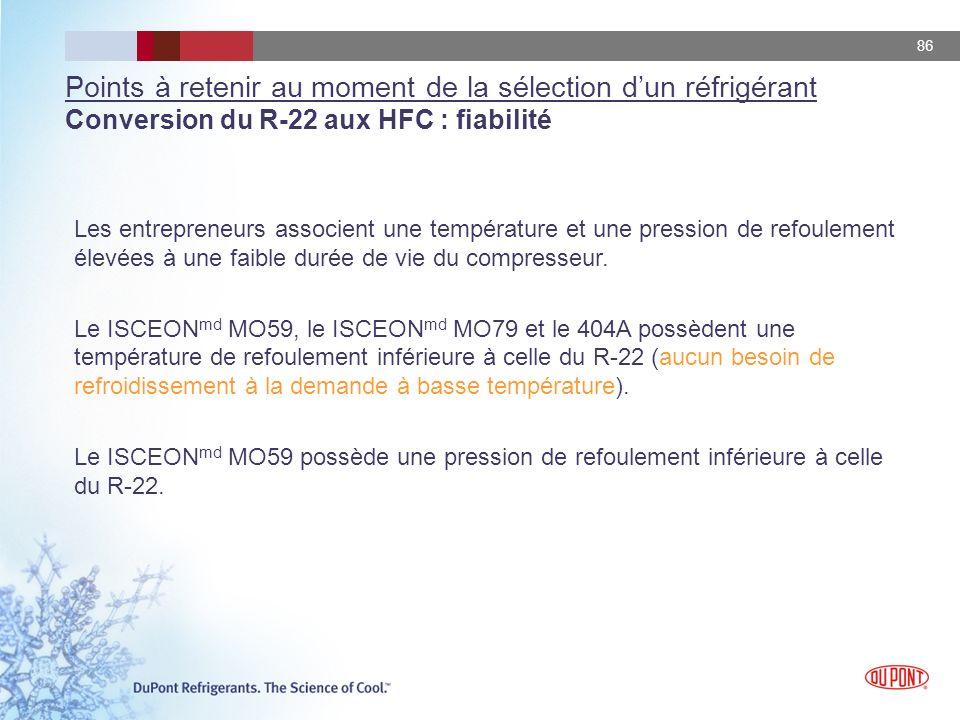 Points à retenir au moment de la sélection d'un réfrigérant Conversion du R-22 aux HFC : fiabilité