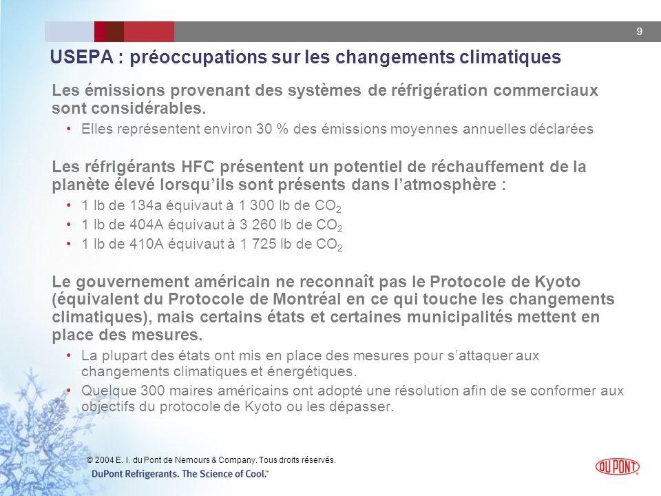 USEPA : préoccupations sur les changements climatiques