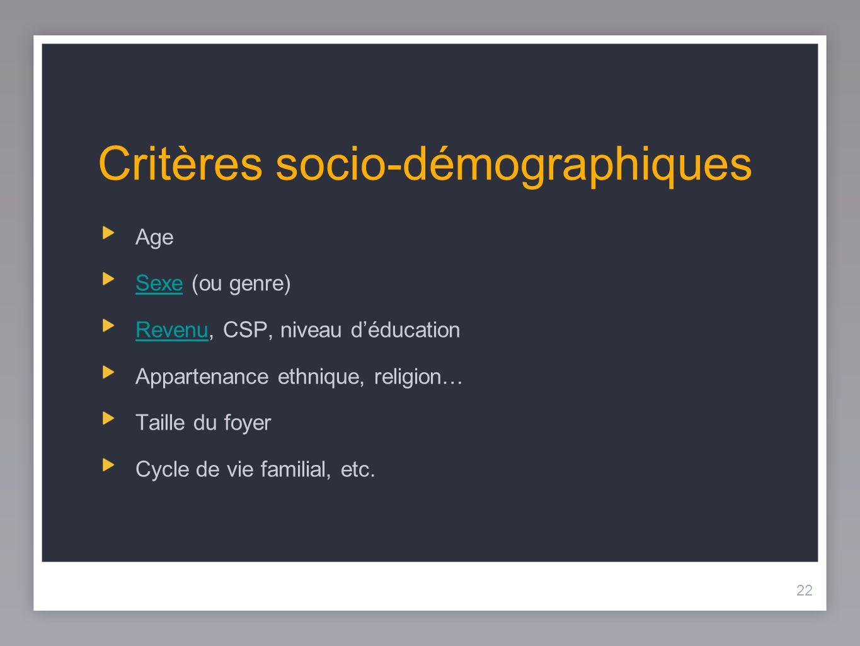 Critères socio-démographiques