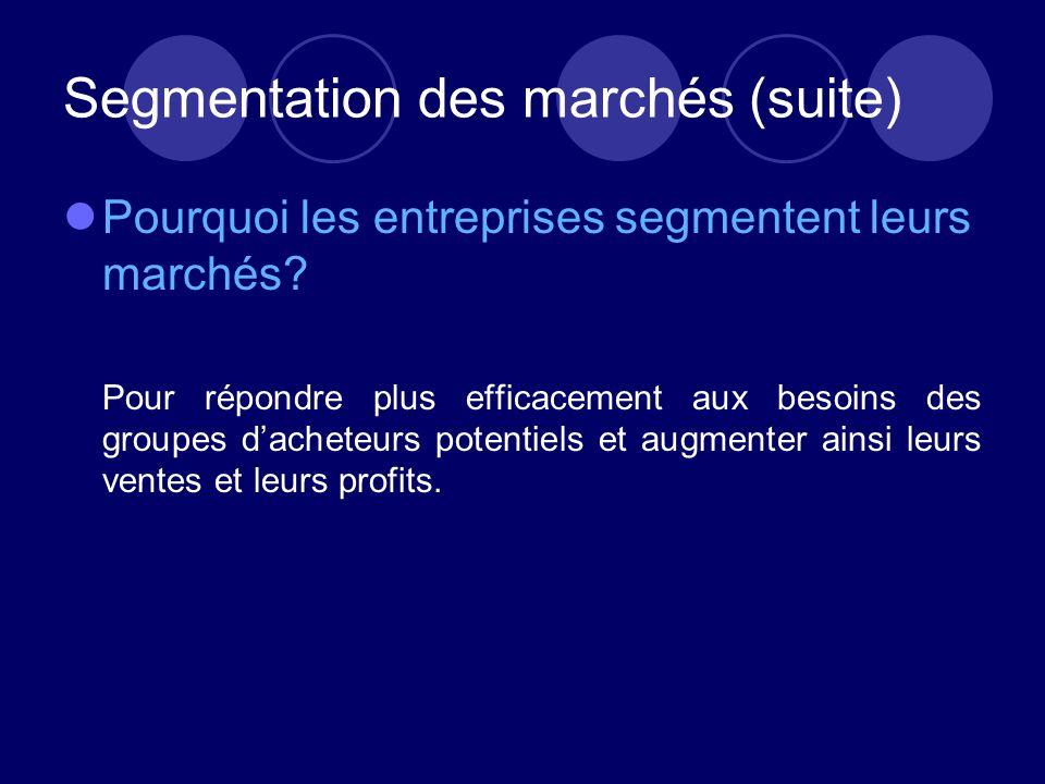 Segmentation des marchés (suite)