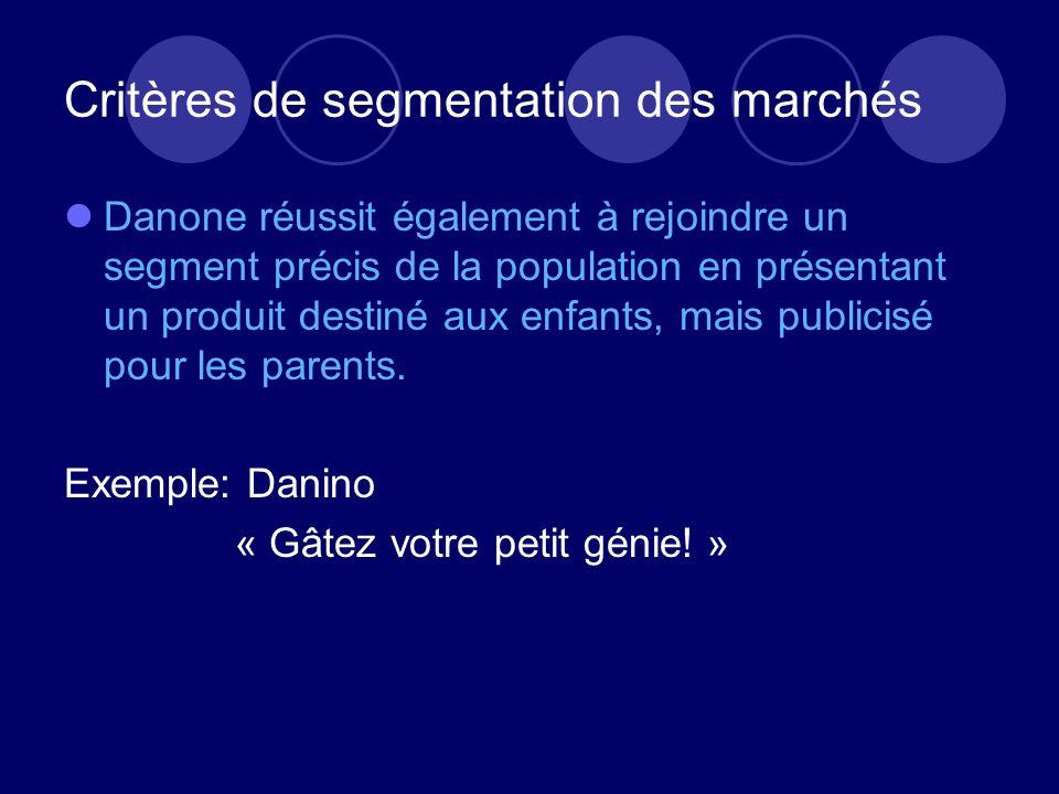 Critères de segmentation des marchés