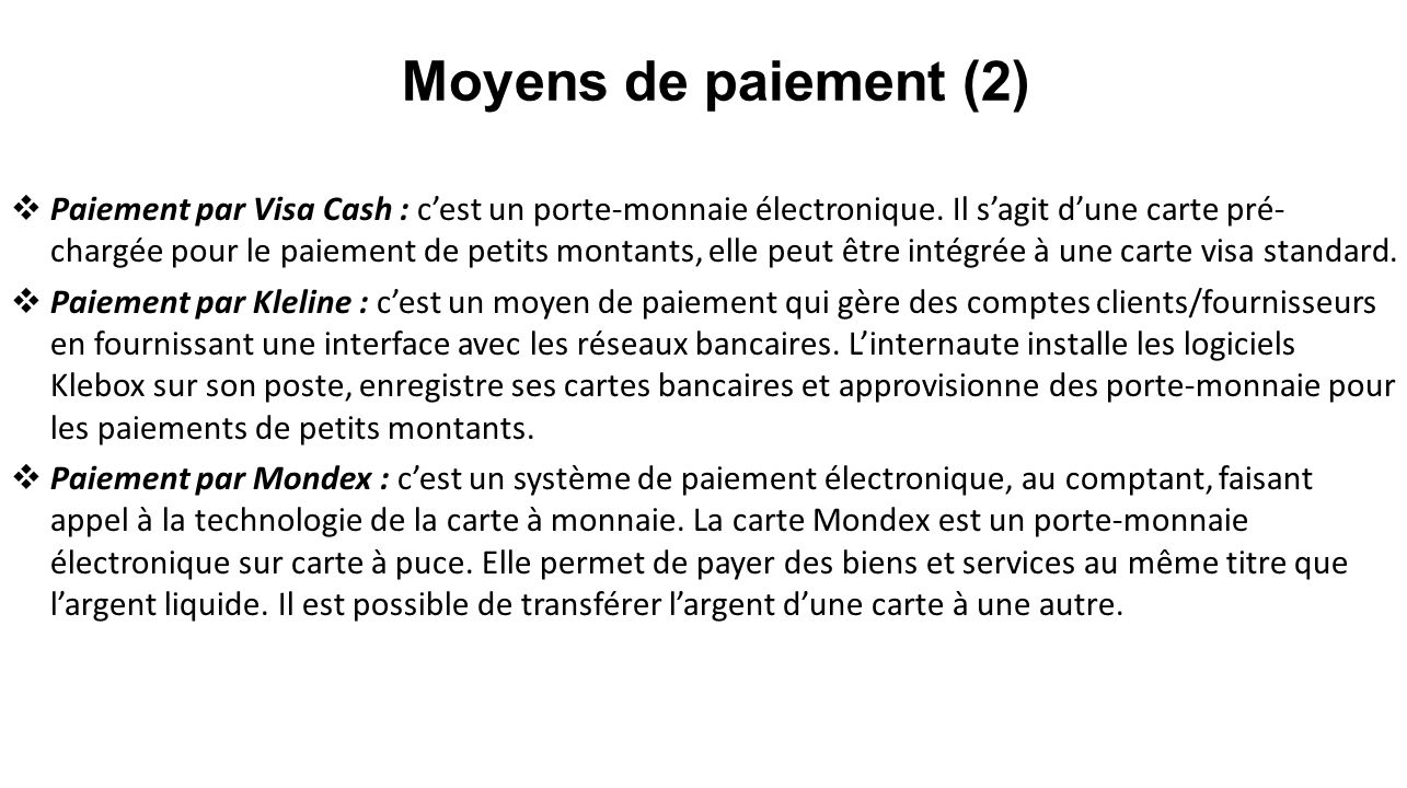 Moyens de paiement (2)