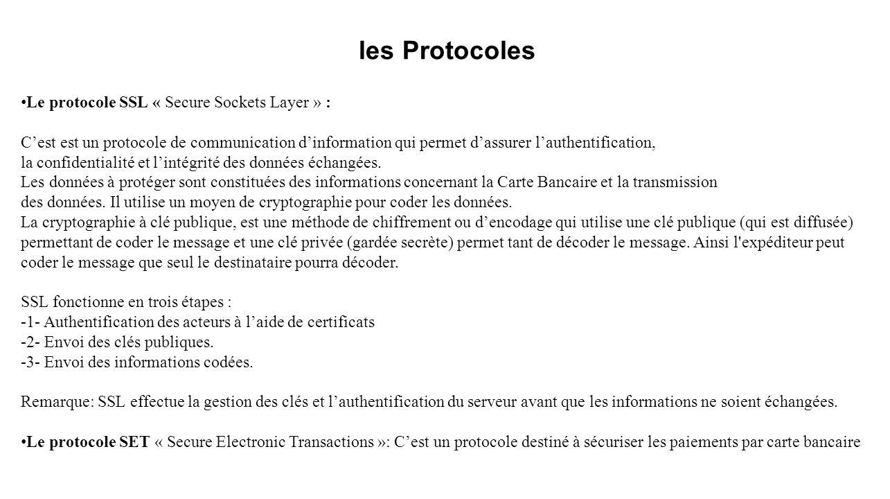 les Protocoles Le protocole SSL « Secure Sockets Layer » :