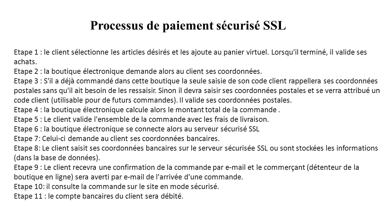 Processus de paiement sécurisé SSL