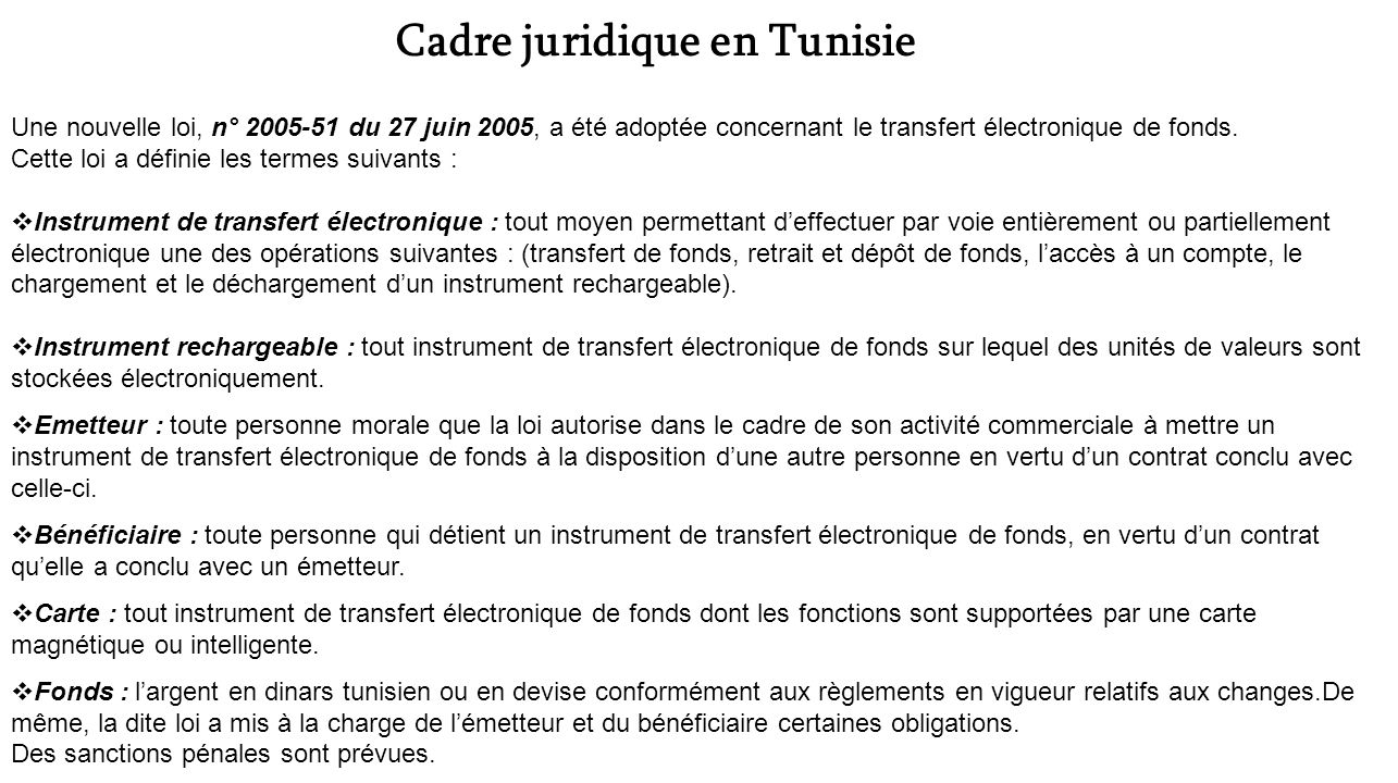 Cadre juridique en Tunisie