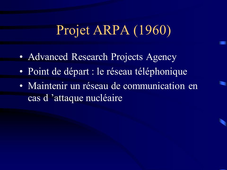 Projet ARPA (1960) Advanced Research Projects Agency