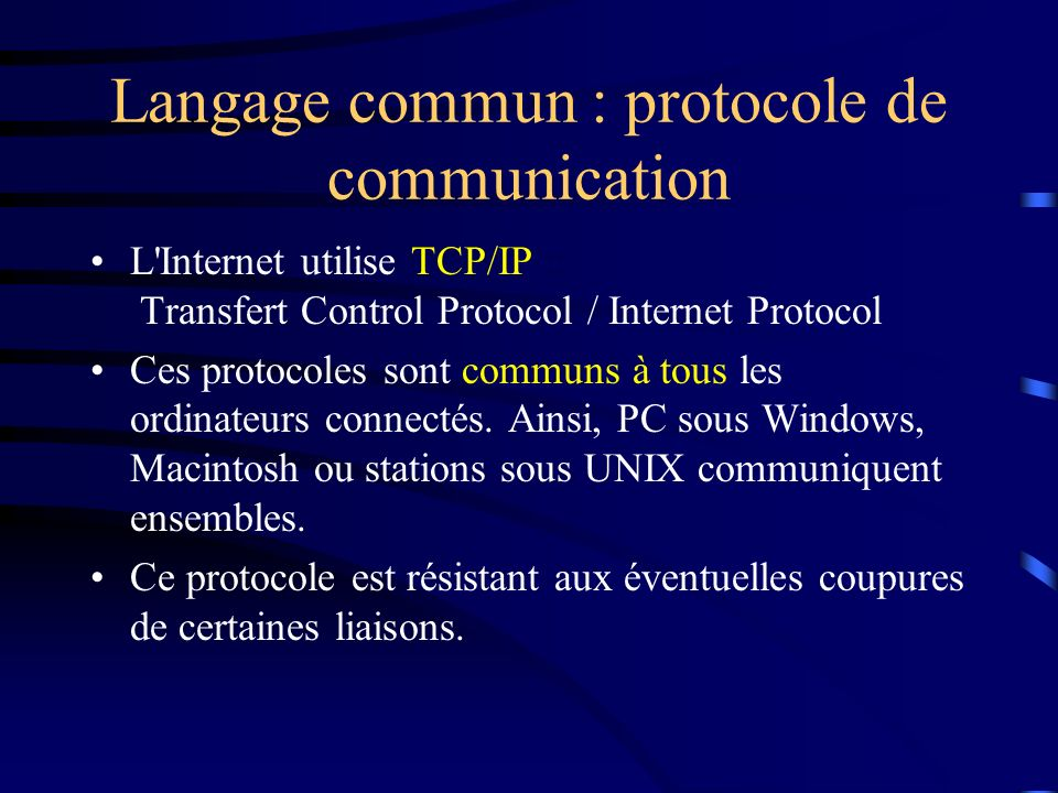 Langage commun : protocole de communication
