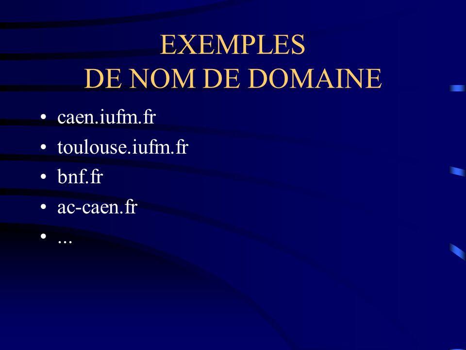 EXEMPLES DE NOM DE DOMAINE