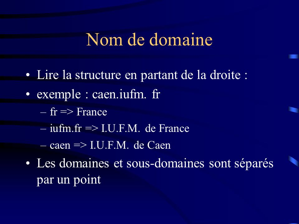 Nom de domaine Lire la structure en partant de la droite :