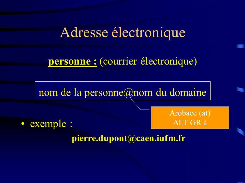 Adresse électronique personne : (courrier électronique)