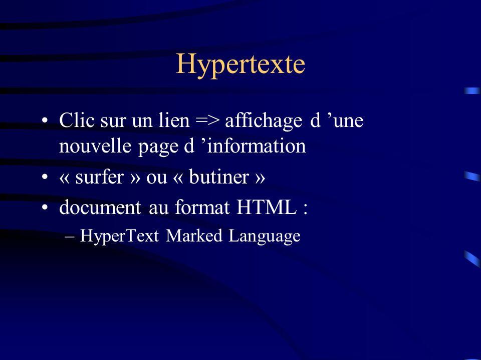 Hypertexte Clic sur un lien => affichage d 'une nouvelle page d 'information. « surfer » ou « butiner »