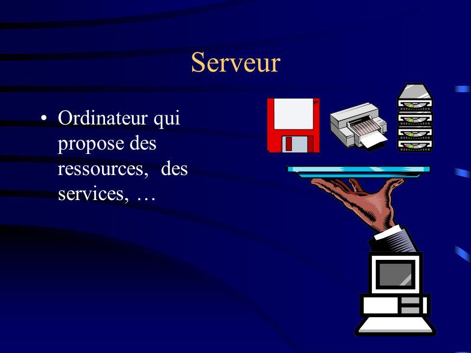 Serveur Ordinateur qui propose des ressources, des services, …