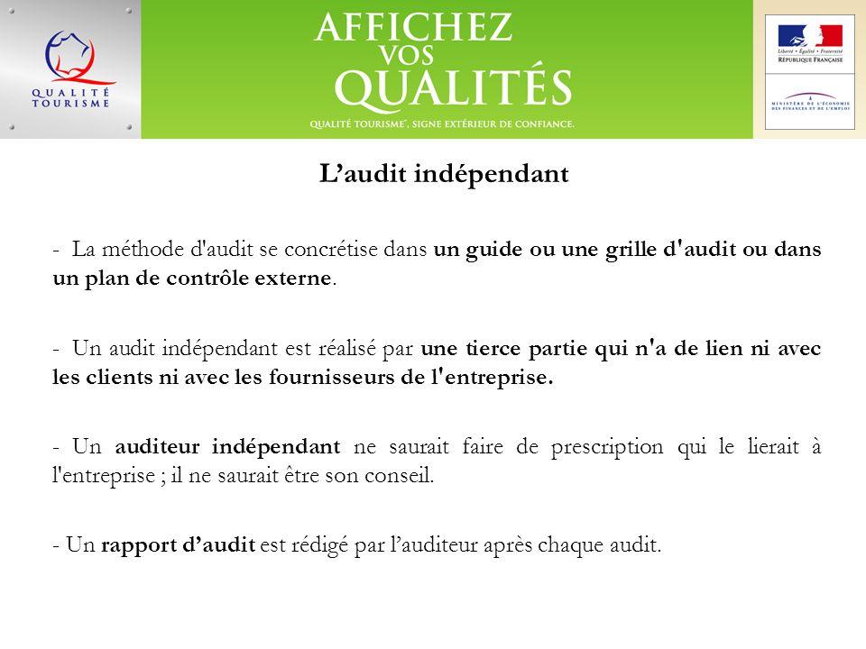 L'audit indépendant La méthode d audit se concrétise dans un guide ou une grille d audit ou dans un plan de contrôle externe.