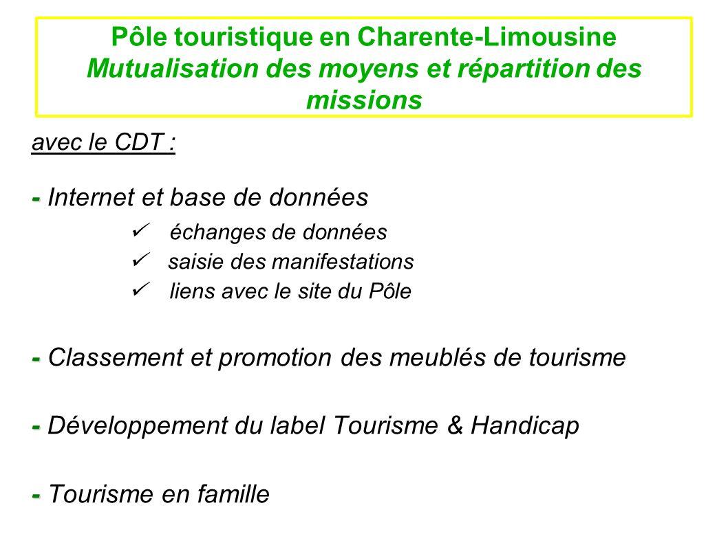 Pôle touristique en Charente-Limousine Mutualisation des moyens et répartition des missions