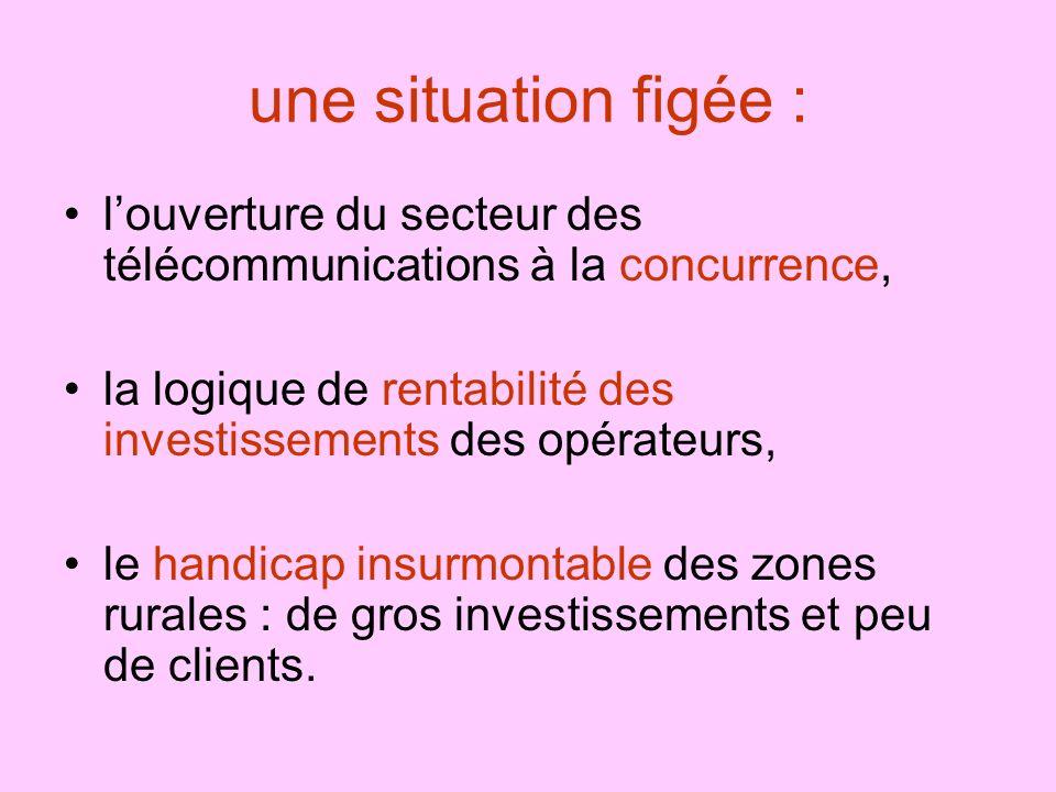 une situation figée : l'ouverture du secteur des télécommunications à la concurrence, la logique de rentabilité des investissements des opérateurs,