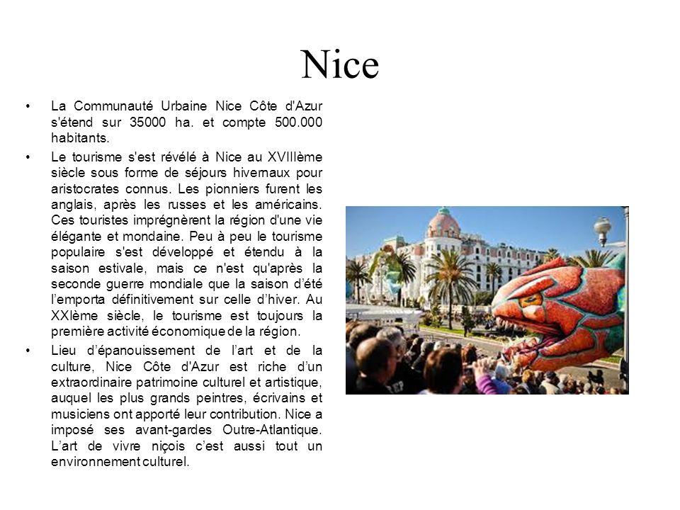 Nice La Communauté Urbaine Nice Côte d Azur s étend sur 35000 ha. et compte 500.000 habitants.