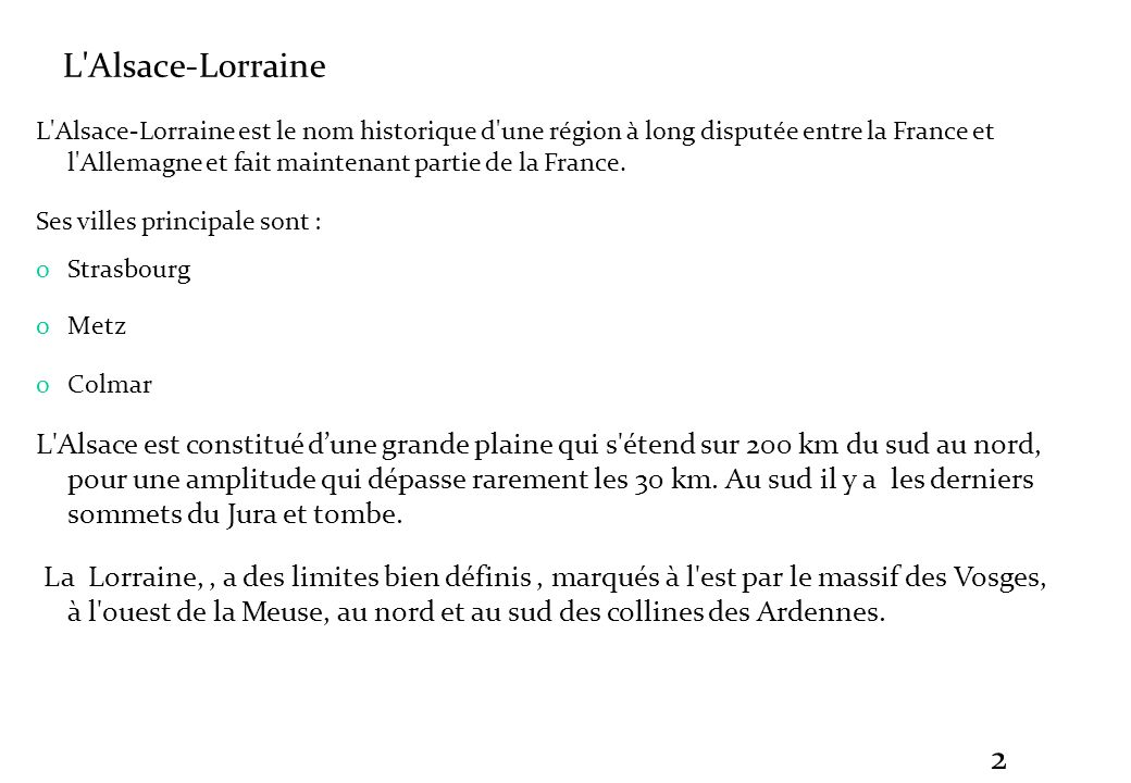 Alsace-Lorraine L Alsace-Lorraine.