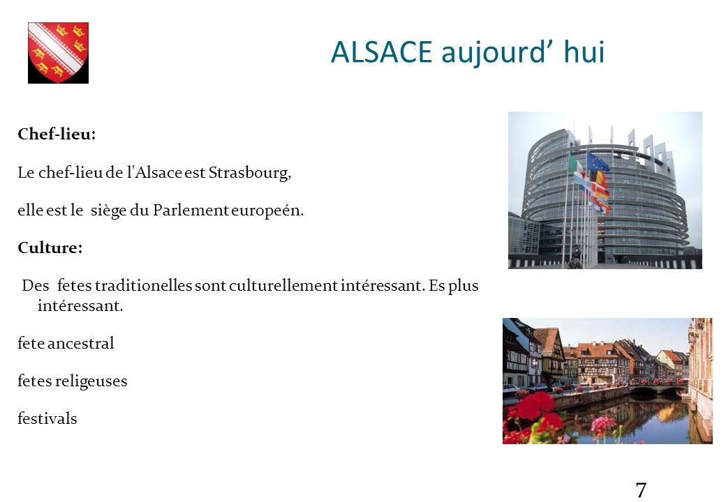 ALSACE aujourd' hui Chef-lieu: