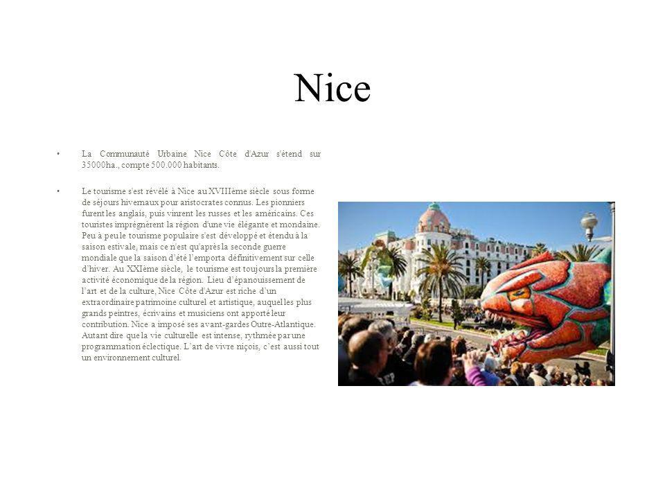 Nice La Communauté Urbaine Nice Côte d Azur s étend sur 35000ha., compte 500.000 habitants.